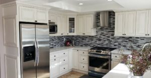 Kitchen with Antique White Cabinets
