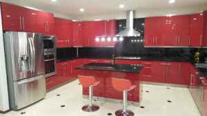 Modern Style Red Kitchen Remodel